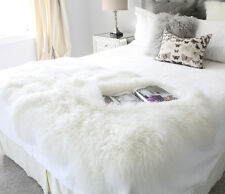 WHITE REAL TIBETAN  MONGOLIAN SHEEPSKIN FUR PLATE LAMBSKIN HIDE THROW BLANKET