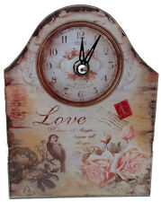 Vintage Style Shabby Chic Glass Clock - Love Bird - NEW