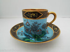 VERY RARE PARAGON STAR CHINA GILDED & ENAMMELLED COFFEE CAN & SAUCER 1913-1915