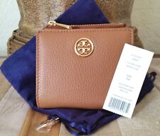 TORY BURCH LANDON MINI WALLET BARK PEBBLED LEATHER NWT + POUCH