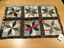 VINTAGE HAND QUILTED EARLY CALICO BLACK STAR CUTTER QUILT PIECE
