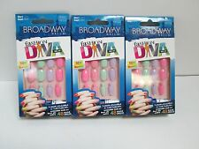 "BROADWAY FASHION DIVA GLUE ON NAILS PASTEL ""MISHMASH"" 56680 BMFD02 - LOT OF 3"