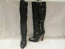 KURT GEIGER BLACK LEATHER KNEE HIGH HEEL PULL ON  BUCKLE BOOTS UK 4 EU 37 (525)