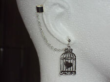 Caged Heart -  Ear Cuff Clip Chain Dangle Piercing  ***FREE 1St Class Postage***