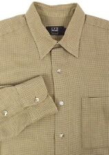 Ike Behar Mens Long Sleeve Shirt Size Large 100% Cotton Brown Points USA