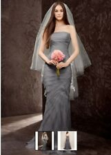 NWT White by Vera Wang Charcoal Chiffon wedding dress size 0