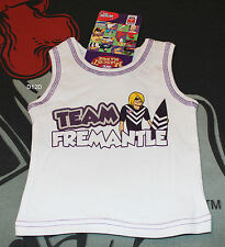Fremantle Dockers AFL Infant Boys White Mascot Printed Cotton Singlet Size 00 BN