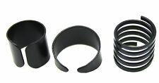 3 Ring Set Black Metal Ring Adjustable Open Wide Mid Finger Knuckle Rings Thumb