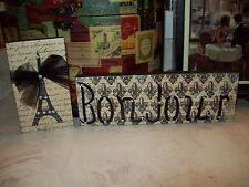 Paris wall decor cream black Bonjour Eiffel tower shelf sitter signs French chic