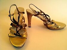 "NINE WEST Metallic Gold/Copper Strappy Platform (3/4"") HEELS 3.5"" 8.5 Medium EUC"