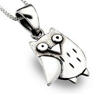 Pure Origins 925 Sterling Silver Owl Pendant with oxidised detail, Chain and Box