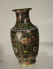 Antique Chinese Enameled Cloisonne Vase Floral Ming Style Damaged As Is
