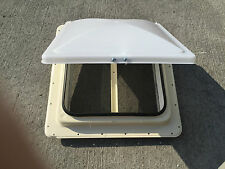 "NEW RV CAMPER MOTORHOME BUS FIFTH WHEEL ROOF VENT HENGS WHITE 14"" X 14"" MANUAL"