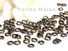 Lot de 200 anneaux de jonction ouverts couleur bronze 4 mm