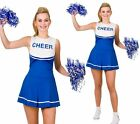 Adults High School Cheerleader Costume Ladies Blue Fancy Dress Outfit 6/24