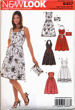 NEW LOOK SEWING PATTERN 6457 MISSES 6-16 HALTER STRAPLESS OR SLEEVELESS DRESSES