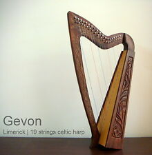 Gevon | 19 Strings Rosewood Celtic Irish Harp, Carry bag & Book | Limerick H10