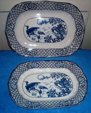 2 WOOD & SONS SEMI PORCELAIN ORIENT SERVING PLATTERS BIRDS FLOWERS BLUE & WHITE