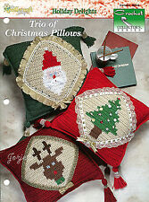 Trio of Christmas Pillows ~ Tree Santa Reindeer, Crochet Collector's patterns