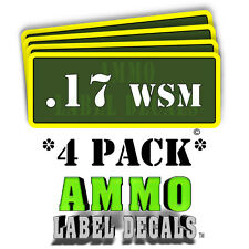 ".17 WSM Ammo Label Decals Ammunition Case 3"" x 1"" Can stickers 4 PACK -YWag"