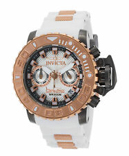 Invicta 20474 Men's Sea Hunter Chrono White Silicone & Dial Rose-Tone 18K GP
