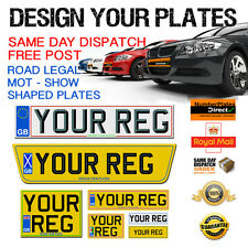 ALL SIZES - PAIR QUALITY CAR NUMBER PLATES & SHOW PLATES SMALL-SHAPED-OVERSIZED