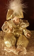 DANDEE International Limited Gold Jester Clown Doll Synthetic Fiber Porcelain