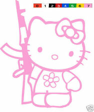 "7"" HELLO KITTY AK-47 GUN SNIPER VINYL DECAL STICKER CAR TRUCK WINDOW JDM pistol"