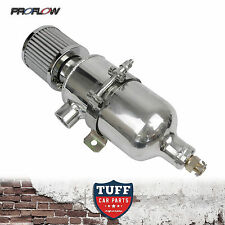 """Proflow 750ml Polished Oil Catch Can Tank with Breather & Drain Tap 1/2"""" NPT New"""