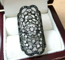 LARGE 925 SILVER BLACK RHODIUM & CLEAR CUBIC ZIRCONIA LACE DESIGN RING SZ N 7