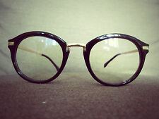 Black Oversized Gold Metal Arm Vintage Geek Retro Clear Lens Glasses