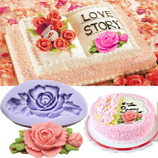 Silicone Rose Flower shape Cake Fondant Mold Chocolate Decorating Baking Mould K