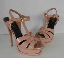 YSL Saint Laurent Tribute Sandal Blush Pink Patent Leather Sz 37