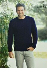 KNITTING PATTERN Mens Long Sleeve Round Neck Cable Jumper Chunky King Cole 4282