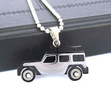 Men's Stainless Steel Black Jeep Car Chain Pendant Necklace wwwfashion F3521