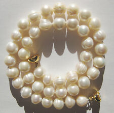 Large 10mm White Baroque Cultured Freshwater Pearl Necklace Choker Gold Plated
