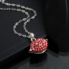 Sexy Crystal Silver Plated Lip Pendant Chain Necklace Charm Valentine's Day Gift