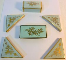 Vtg Porcelain DESK Set Stamp Box Blotter Corners Ink Blotter French Robin Blue