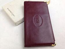 Auth Must De Cartier Long Bifold Wallet Purse Leather Bordeaux Vintage 5E121061#