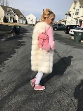 FABULOUS NATURAL WHITE FOX FUR LONG SLEEVELESS VEST/COAT WITH GENUINE LEATHER