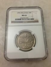 (JC) 50 (fifty) sen 1995 Bunga Raya coin keydate NGC Graded MS63 (UNC)