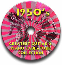 1950's 50's POP ROCK N ROLL GUITAR & PIANO TABS TABLATURE SONG BOOK SOFTWARE CD
