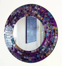 Round purple pink mosaic wall mirror 40cm-hand made in Bali-NEW