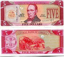 LIBERIA 5 DOLLARS 2011 UNC CONSECUTIVE 5 PCS LOT P 26