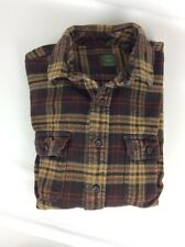 Timberland Brown Tan Plaid Heavy Cotton Flannel Shirt Size Large