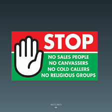 SKU78 stop cold calling porte autocollant no Canvassers callers groupes religieux signe