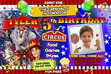 CIRCUS CARNIVAL CLOWN BIRTHDAY PARTY INVITATION PHOTO 1ST - C8 - CUSTOMIZABLE