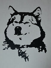 15CM ALASKAN MALAMUTE FACE HEAD SILHOUETTE STICKER DECAL SLED DOG DOGS BLACK