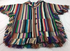 Vtg 1960's Ortega's CHIMAYO NM Native American Blanket Jacket Coat Pancho SUPERB