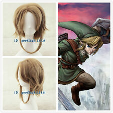 XMAS GIFT The Legend of Zelda Link short brown Cosplay Wig + free wig cap
